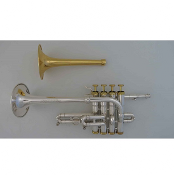 Phaeton Piccolo Trumpet - Silver Plating - Gold Caps/Buttons